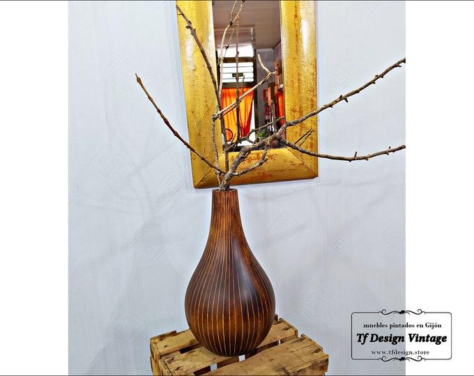 Ethnic wood vase, Wooden gourd vase, Handmade wood vase, Wooden flower vase, Hand carved wood vase, Mango wood vase, Carved wooden vase