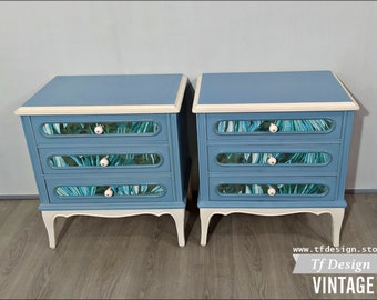A pair of painted nightstands, Wooden bedside tables, 3-drawer bedside tables, Vintage-style bedside tables, Pair of blue bedside tables