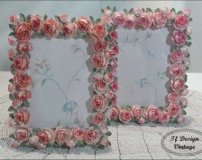 Photo frames Shabby chic style, 9 x 13 cm photo frames, Photo frame with roses, Floral photo frame, Girls photo frame, Baby photo frame