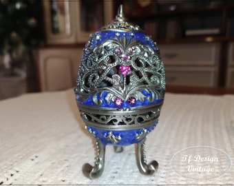 Faberge Egg Replica, Faberge Egg Jewelry Box, Blue Faberge Egg, Russian Faberge style egg, Decorative egg, Metal carving Faberge egg