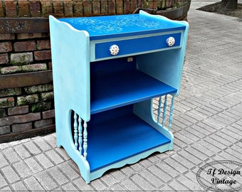 Hand painted Tv cabinet,Blue table with a drawer,Table for Tv,Wooden cabinet for Tv,Side table for sofa,Auxiliary table,Nightstand large