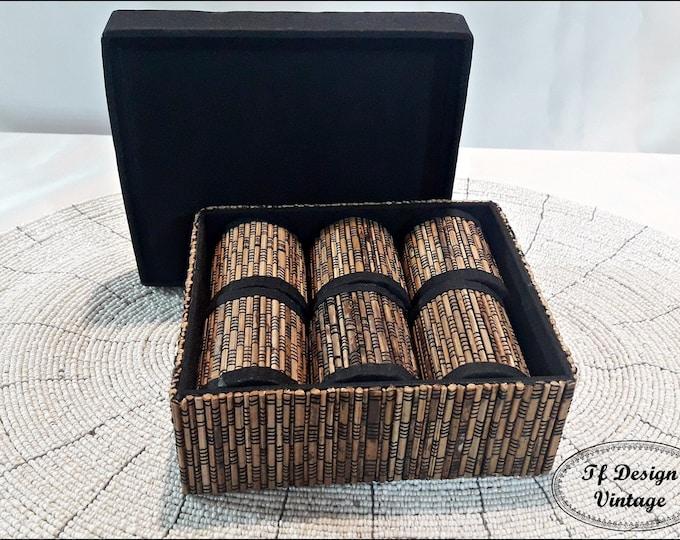 Napkin rings set, Set of 6 napkin rings from bamboo, Set of woven bamboo napkin rings, Bamboo napkin rings, Ethnic table decor, Wedding gift