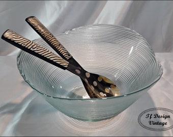 Salad Bowl and Scoops Set, Salad Utensil Set, Glass Salad Bowl, Large glass Bowl, Round Glass Salad Bowl, Salad bowl glass, Salad bowl set