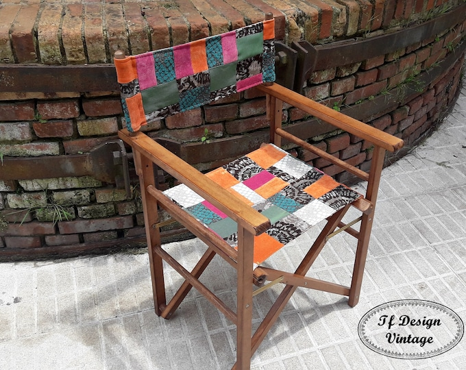 Folding chair director,Chair Patchwork seat,Custom folding chair,Folding chair wood,Teak folding chair,Patchwork seat chair,Colorful chair