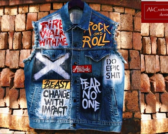 Waistcoat denim jacket, Denim vest with Skull, Hand painted unisex denim vest, Original denim vest, Customized Waistcoat, Heavy Metal Vest