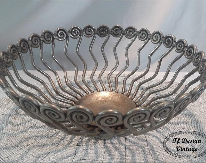 Centrepiece bowl, Pewter centrepiece bowl, Ethnic centrepiece bowl, Pewter fruit bowl, Fruit bowl centrepiece, Centrepiece for home gift
