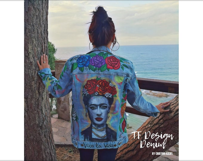 Featured listing image: FRIDA unique Jeans Jacket,Hand painted Woman Jacket,Street style clothes,Customized clothes,Original jeans design,Jeans jacket with FRIDA