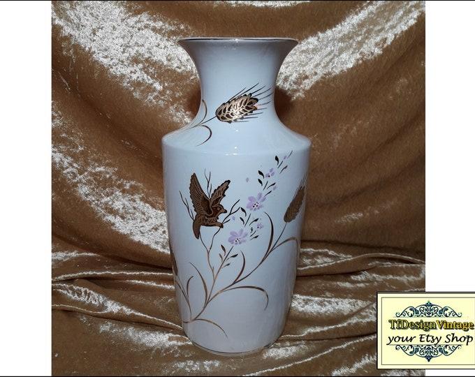 Porcelain Vase White, Vase, Porcelain vase with gold trim, Porcelain vase with gold, Porcelain vase for gift, Vintage porcelain vase