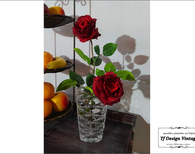 Clear glass vase, Poland hand carved glass vase, Crystal modern vase, Clear crystal vase, Poland Art glass vase, Hand carved crystal vase