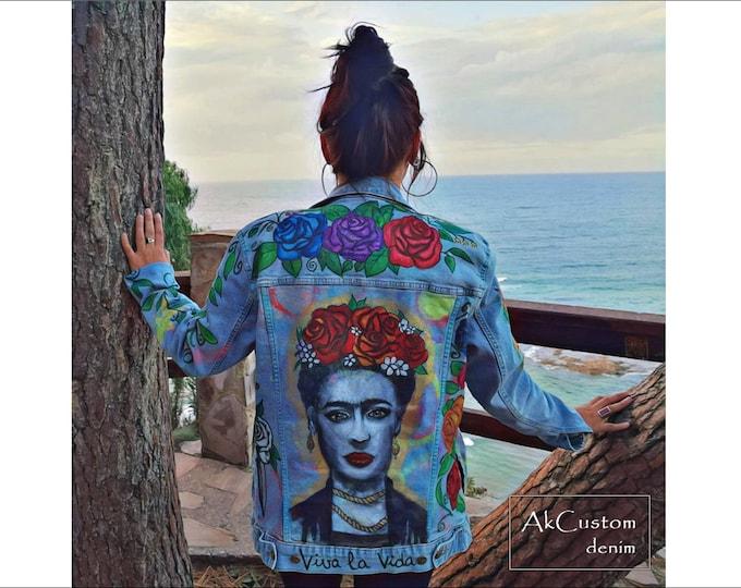 FRIDA denim jacket, Hand painted denim jacket, Floral denim jacket, Custom Frida denim jacket, Hand painted jean jacket, Customized denim