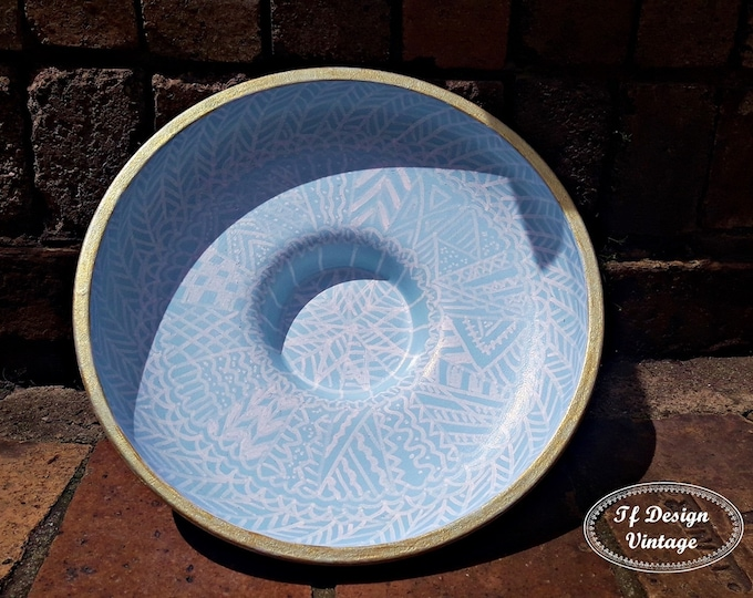 Centrepiece for dining table, Centrepiece bowl, Hand painted centrepiece plate, Centrepiece round table, Round centrepiece bowl, Blue bowl