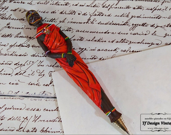 Ballpoint Masai figure pen, Original collector pen, African tribe pen, African figure pen, Hand painted Masai figurine
