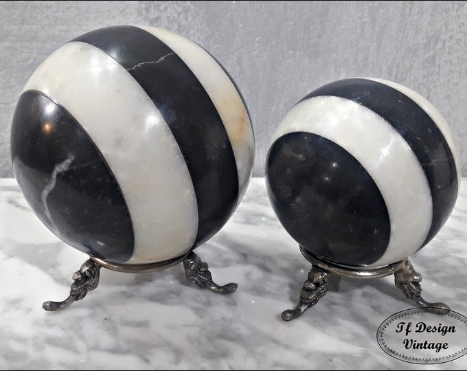 Balls decorative with support, Marble balls set of 2, Decorative balls, Balls marble, Black Marquina marble and White Macael marble balls