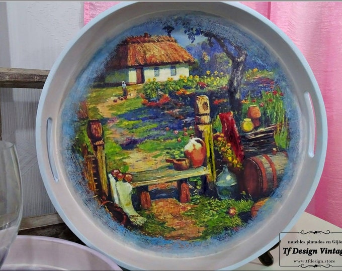 Round wooden tray, Original hand painted tray, Round decorative tray, Round tray wood, Serving round tray, Centrepiece table  wooden tray