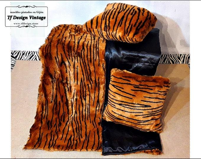Blanket and cushions set, Animal print cushions and blanket set, Tiger print blanket set, Cushions and blanket for sofa, Blanket sofa set