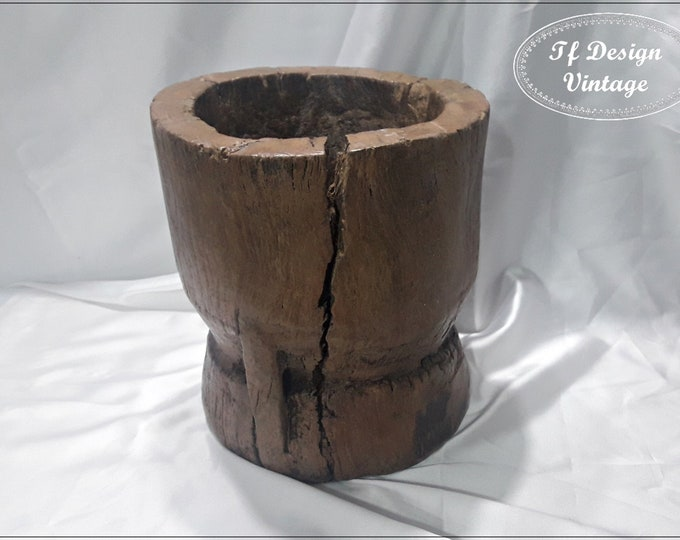 Antique Wood Mortar, Mijo Baule Tribal Mortar, Large Wood Mortar for Soil, African Wooden Mortar, Decorative Mortar