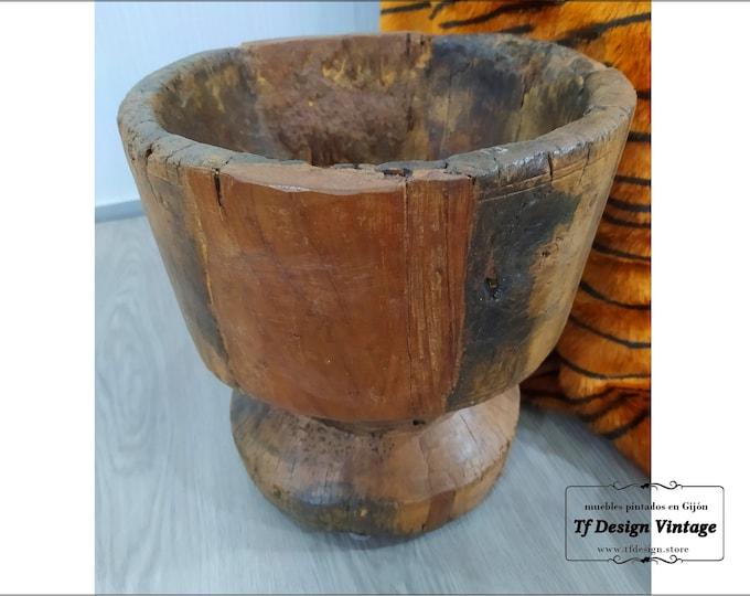 Mortero africano antiguo, Mortero tribal mijo baule, Mortero madera grande para suelo, Mortero antiguo  de madera, Mortero decorativo