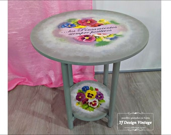 Small Boho side table, Round coffee table, Side table round, Round bedside table vintage, Small round accent table, Round end table 50 cm