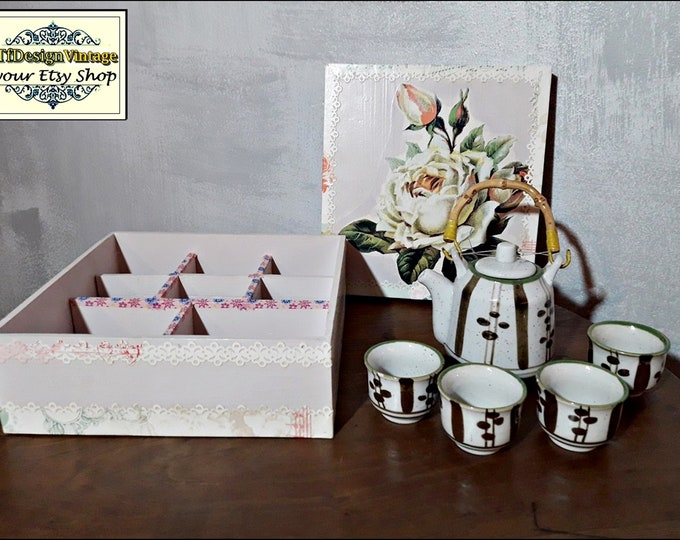 Japanese tea cup set, Tea cups with teapot, Oriental tea cup set, Teapot and cups in box, Wooden tea box, Small tea cup set, NEVER USED!!!