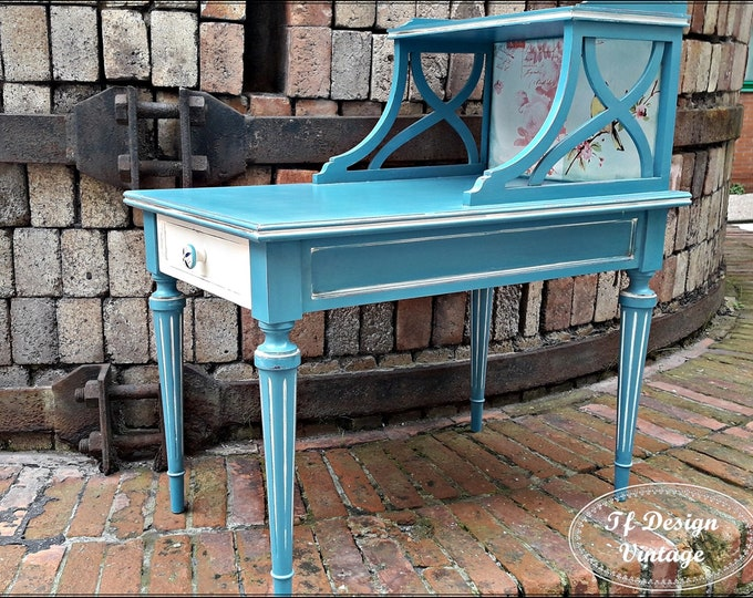 Side table blue, Wooden side table, Rectangular end table, Wooden table for sofa, Auxiliary wooden table, Side table with drawer
