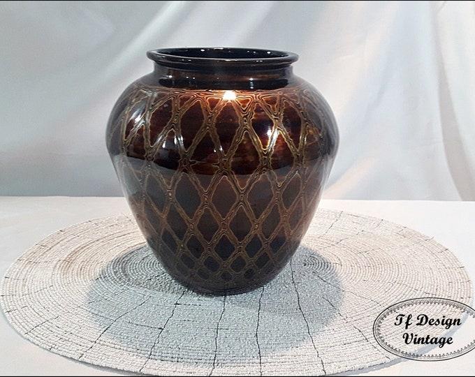 Vase wood, Lacquered wood vase, Vase ethnic, Ethnic home decor, Wooden vase, Brown wooden vase, Vase ethnic style, Vase decor, Vase brown