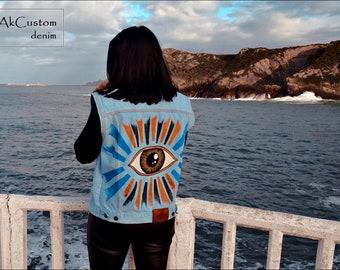 Waistcoat denim jacket, Painted Denim Vest, Denim waistcoat with Eye, Hand Painted Unisex Denim Vest, Original Jeans Vest, Customized Denim
