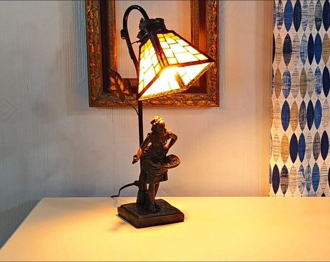 Tiffany style table lamp, Tiffany lamp with figure, Table Tiffany lamp, Tiffany desk lamp, Small tiffany table lamp, Tiffany lamp replica