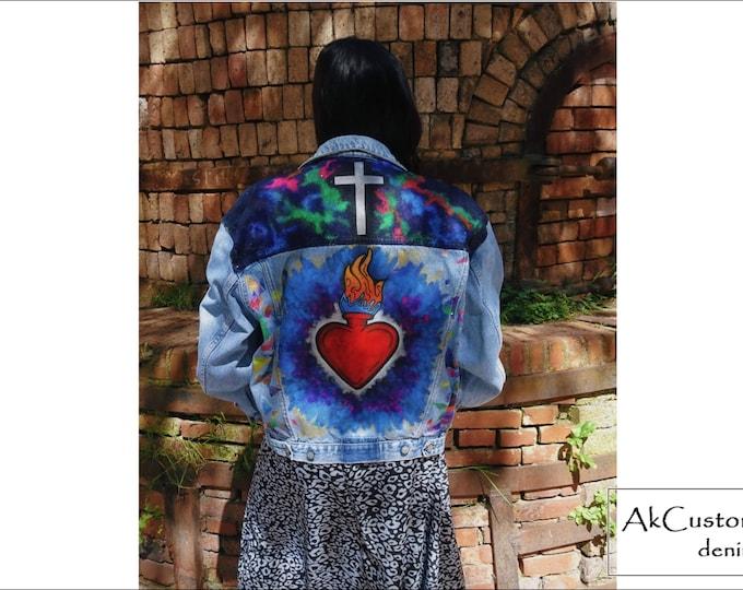 Old School Style Denim Jacket, Bomber Denim Jacket, Hand Painted Denim Jacket, Customized Denim Jacket, Unisex Jean Jacket