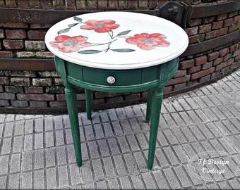 Round coffee table wood,Painted green table,Side table round,Round table white top,Farmhouse round coffee table,Small round kitchen table