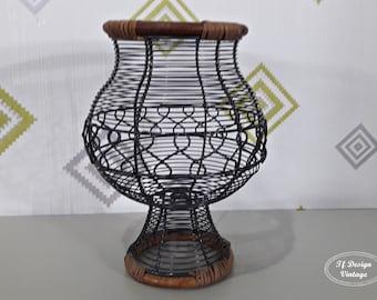 Decorative centerpiece, Cup-shaped centerpiece, Wire and bamboo centerpiece, Ethnic-style centerpiece