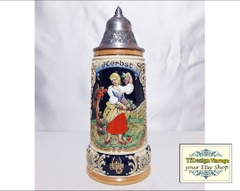 Beer Stein German, Four Seasons Series Summer Beer Stein, King Werk beer stein limited edition, Beer stein with lid, Beer stein ceramic