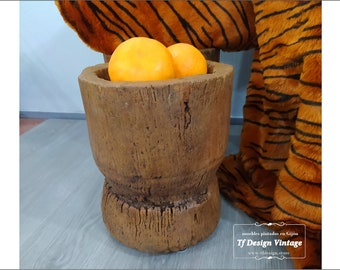 Antique Wood Mortar, Mijo Baule Tribal Mortar, Large Wood Mortar for Soil, African Wooden Mortar, Decorative Mortar