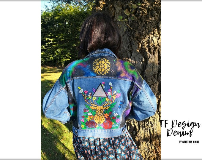 Featured listing image: Unique Jeans Jacket,Hand painted Woman Jacket,Street style clothes,Customized  Denim,Original Jeans design,Jacket with Deer and Flowers