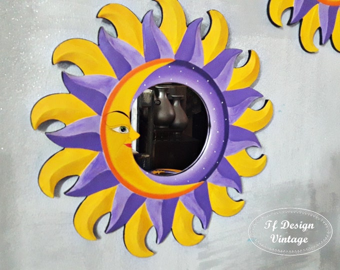 Sun Moon mirror, Hand-painted wooden sun mirror, Sun-shaped mirror, Bohemian style mirror, Round mirror 38 cm diameter