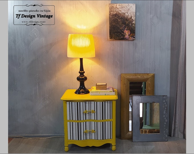 Yellow wooden side table, Yellow bedside table, Nightstand with 2 drawers, Yellow vintage end table, 2 drawer nightstand, Wooden nightstand