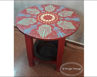 Wooden round table, Antique round table with brazier, Side table round, Hand painted wood table, Red round table, Wooden  round table 65 cm