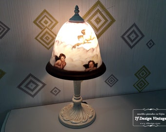 Table lamp, Vintage style white lamp, Glass lampshade, Hall lamp, Table lamp, Room lamp