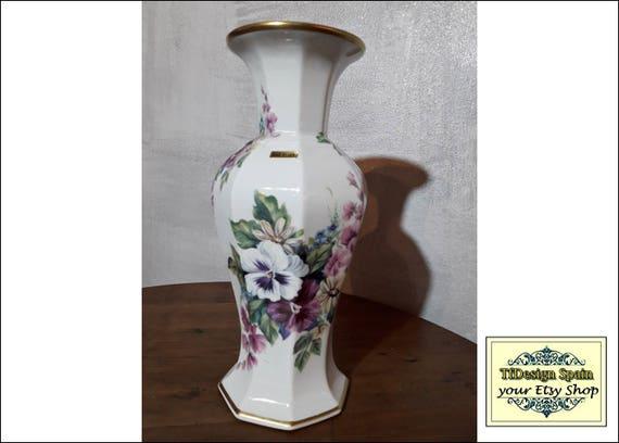 Jarrón porcelana fina filo oro, Jarrón porcelana blanca con flores, Jarrón porcelana comprar, Jarrón porcelana regalo, Jarrón blanco 30 cm