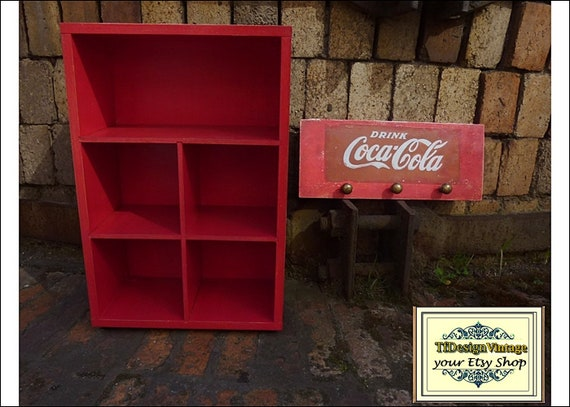 Cds holder furniture storage, Cd rack, Cds furniture wood, Cd box storage, Cd furniture cabinet, Furniture Cd storage unit, Coca-Cola paint