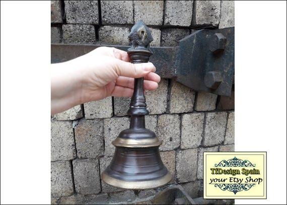 Bronze bell, Bronze hangle bell, Bronze hanging bell, Bronze hand bell, Bell etched, Old bronze bell, Vintage bronze bell, School bell