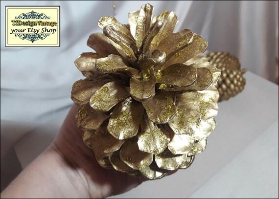 Decorated pine cones, Golden pine cones, Christmas ornaments, Christmas pine cones, Xmas ornaments in silver, Set of 4 pine cones L size