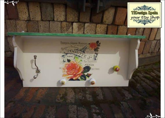 Percha de pared, Percha de madera, Percha pared blanca y verde, Percha pared con estante, Percha pared estilo vintage, Percha pared 71 cm