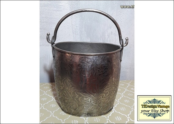 Hand-engraved steel bucket, Metal bucket handmade, Metal bucket decoration, Metal bucket oval, Metal bucket steel, Metal bucket for storage