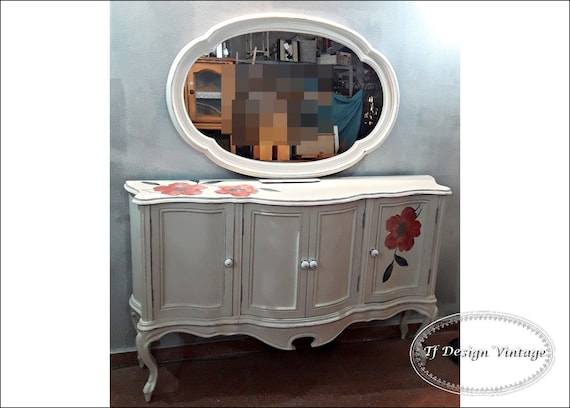 Entryway cabinet with mirror, White console, Console table with mirror, Console wood, Console cabinet with doors, Buffet cabinet with mirror