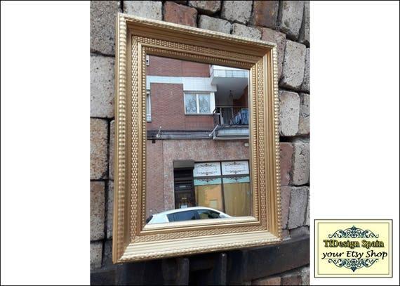 Gold mirror wall, Gold mirror wall decor, Gold color wall mirror, Gold gilt wall mirror, Matte gold wall mirror, Gold mirror rectangle wall