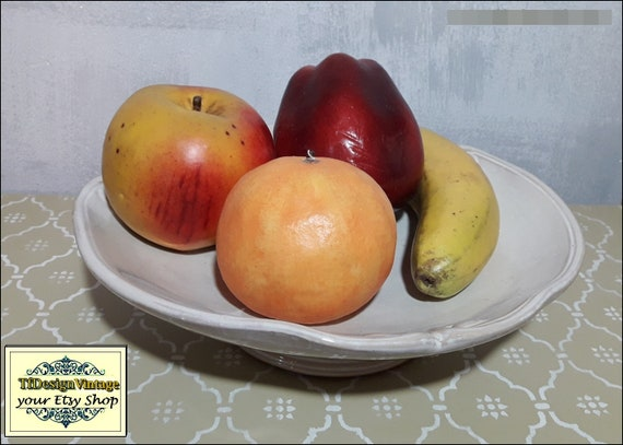 Fruit bowl, Fruit bowl ceramic, Bowl for fruit, Fruit bowl gift, Fruit bowl beige, Fruit bowl kitchen, Fruit bowl on table, 33 cm diameter