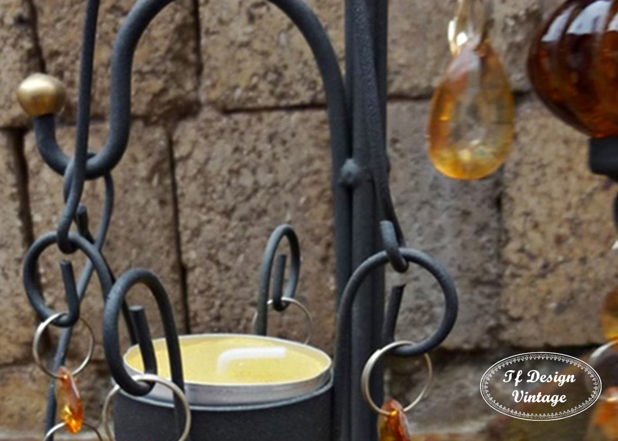 Wrought Iron And Glass Candelabra Metal Support For Candles Glass Candle Cups With Handmade Forge Support Tea Light Chandelier