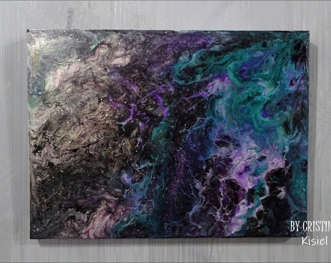 Fluid art painting, Pouring art on a wooden board, Abstract fluid art painting, Fluid art decorative painting 30 x 40 cm, Abstract picture