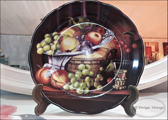 Decorative porcelain dish, Porcelain plate for wall, Porcelain dish with fruits, Decorative porcelain vintage, Porcelain still life dish