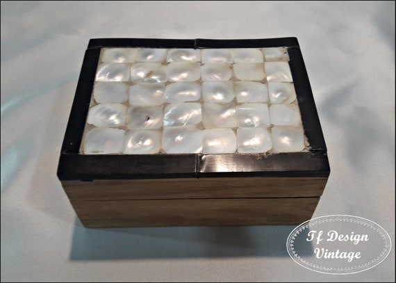 Wooden, mother-of-pearl and antler box, Jewelry box, Decorative mother-of-pearl box, Handmade box, Mother-of-pearl box, Mother-of-pearl